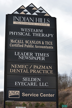 Indian Hills Professional Sign - Kittanning Office Location